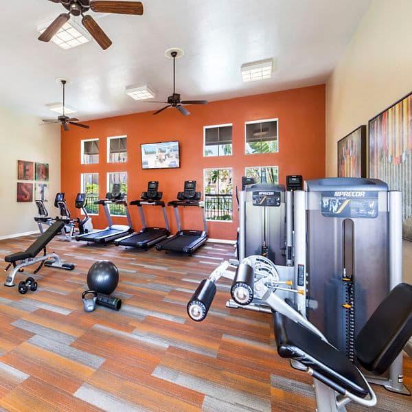 Interior view of fitness center at Villa Coronado