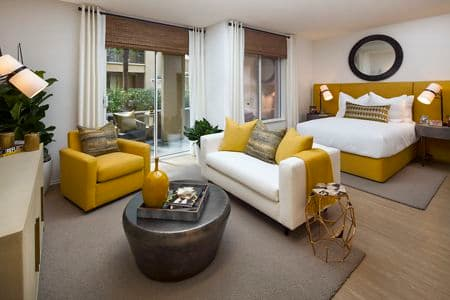 Interior view of a studio apartment at Villa Siena Apartment Homes in Irvine, CA.