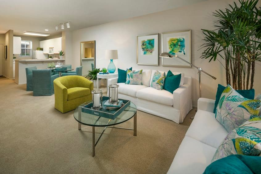 Interior view of living room at Villa Siena Apartment Homes in Irvine, CA.