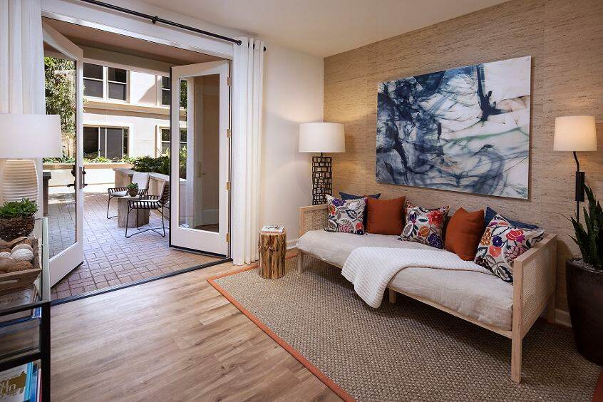 Interior view of living room and patio Westview at Irvine Spectrum Apartment Homes in Irvine, CA.