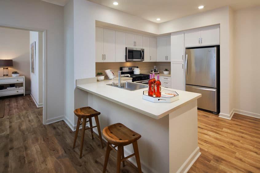 Kitchen area of Westview at Irvine Spectrum Apartment Homes in Irvine, CA.