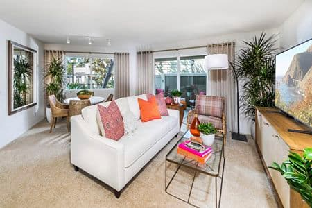 Interior view of Living Room at Windwood Glen Apartment Homes in Irvine, CA.