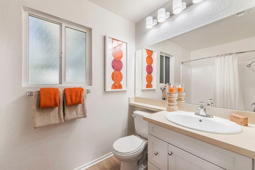 Interior view of Bathroom at Windwood Glen Apartment Homes in Irvine, CA.