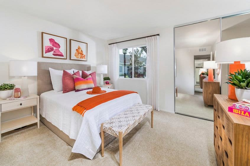 Interior view of Master Bedroom at Windwood Glen Apartment Homes in Irvine, CA.