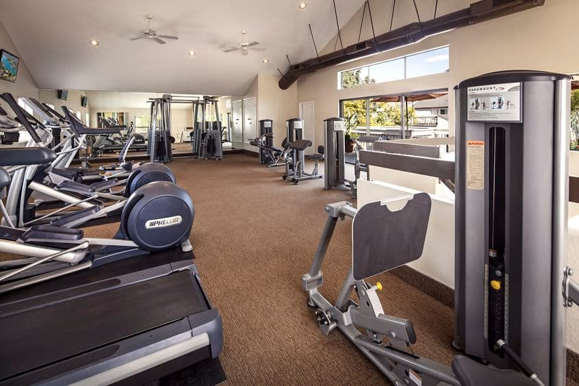 Interior view of fitness center at Woodbridge Villas Apartment Homes in Irvine, CA.