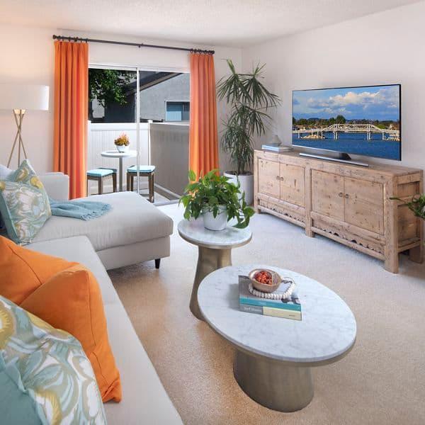Interior view of living room at Woodbridge Villas Apartment Homes in Irvine, CA.