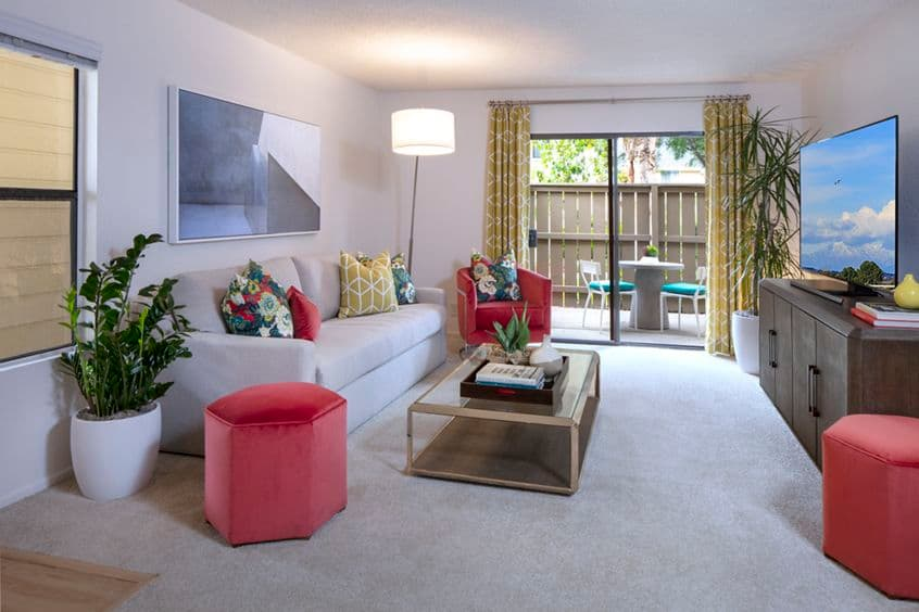 Interior view of living room at Woodbridge Willows Apartment Homes in Irvine, CA.