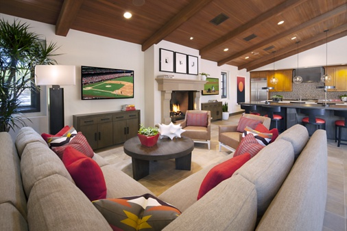 Interior view of clubhouse of Woodbury Court Apartment Homes in Irvine, CA.