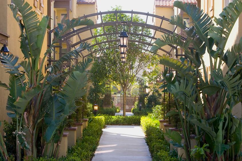 Exterior view of pathway at Woodbury Court Apartment Homes in Irvine, CA.