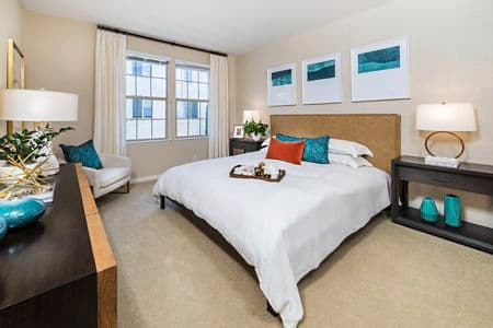 Interior view of Master Bedroom at Woodbury Lane Apartment Homes in Irvine, CA.