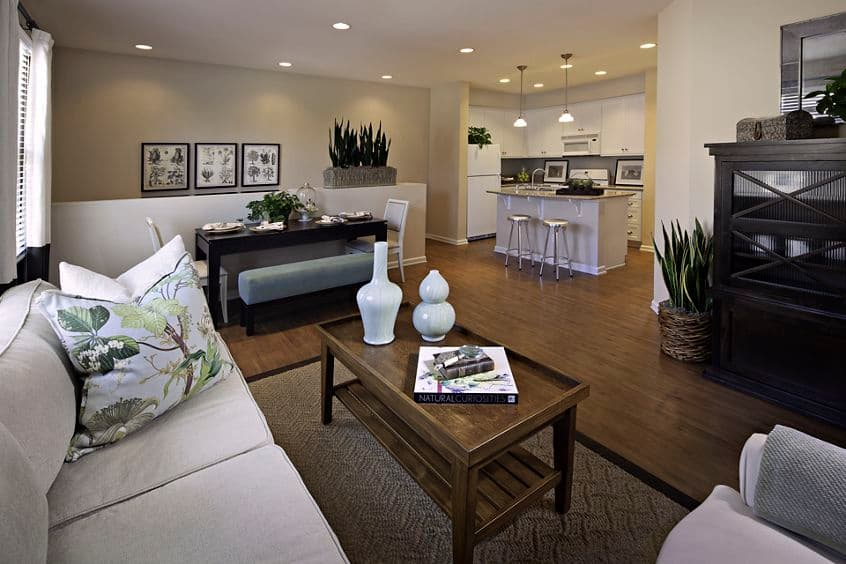 Interior view of living room at Woodbury Place Apartment Homes in Irvine, CA.