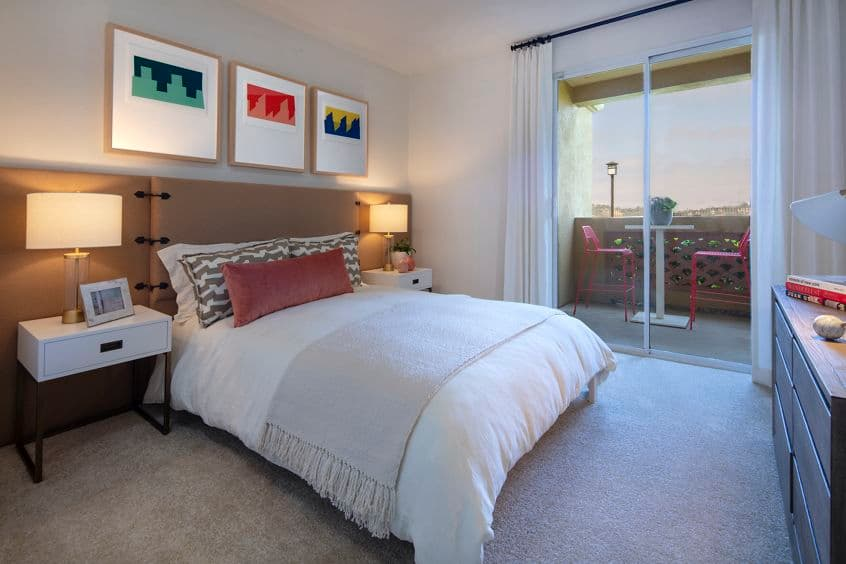Interior view of bedroom at Vista Real Apartment Homes in Mission Viejo, CA.