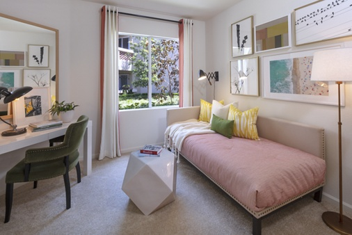 Interior view of a bedroom at Vista Real Apartment Homes in Mission Viejo, CA.