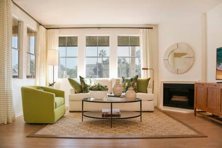 Interior view of Living Room at Baypointe Apartment Home in Newport Beach, CA.