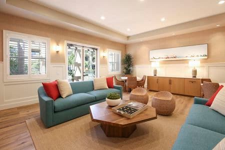 Interior view of clubhouse at Baypointe Apartment Homes in Newport Beach, CA.