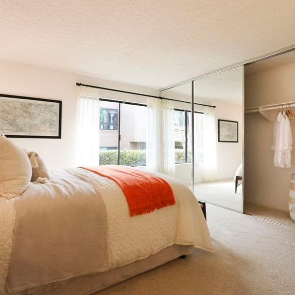 Interior view of bedroom at Baywood Apartment Homes in Newport Beach, CA.