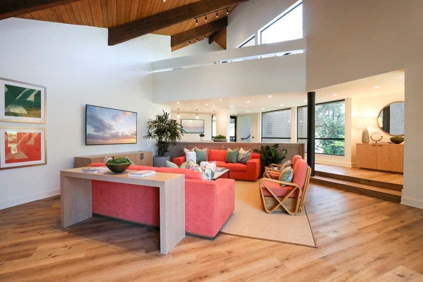 Interior view of clubroom at Baywood Apartment Homes in Newport Beach, CA.