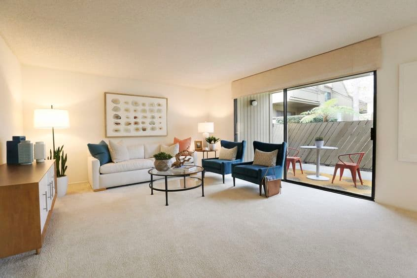 Interior view of living room at Baywood Apartment Homes in Newport Beach, CA.
