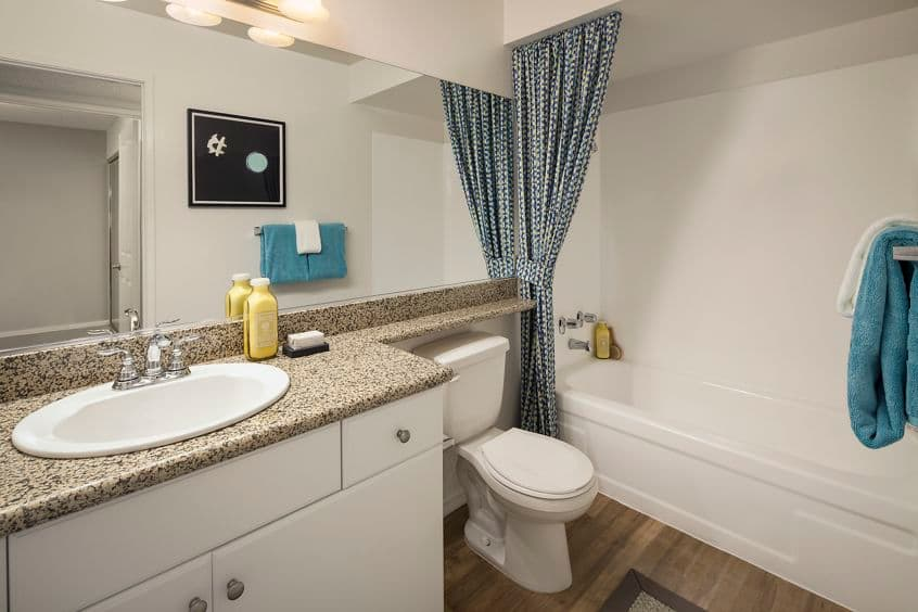 Interior view of bathroom at The Bays Apartment Homes in Newport Beach, CA.