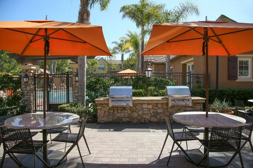 Exterior patio view at Bordeaux Apartment Homes in Newport Beach, CA.