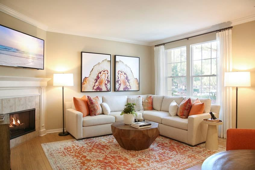 Interior view of living room at Bordeaux Apartment Homes in Newport Beach, CA.
