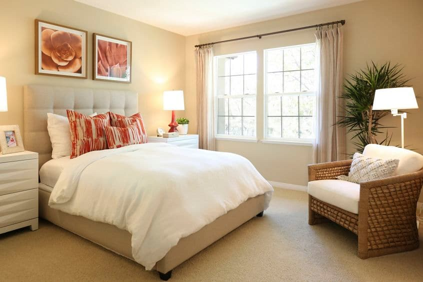 Interior view of bedroom at Bordeaux Apartment Homes in Newport Beach, CA.