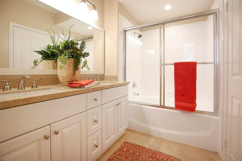Interior view of bathroom at Bordeaux Apartment Homes in Newport Beach, CA.