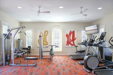 Interior view of view of fitness center at Bordeaux Apartment Homes in Newport Beach, CA.