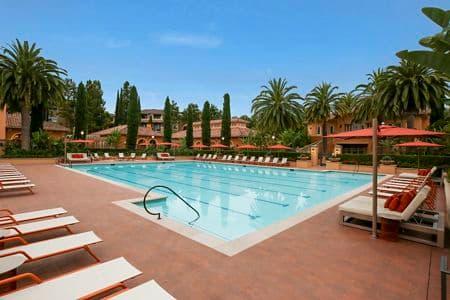 Exterior pool view at Newport Bluffs Apartment Homes in Newport Beach, CA.