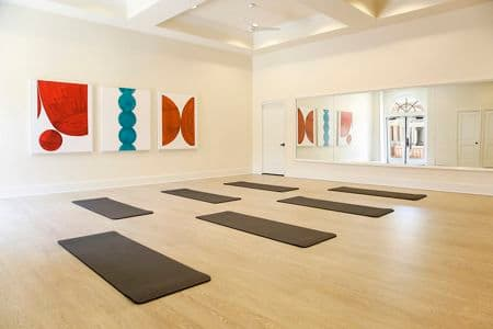 Interior of room with yoga mats at Newport Bluffs Apartment Homes in Newport Beach, CA.