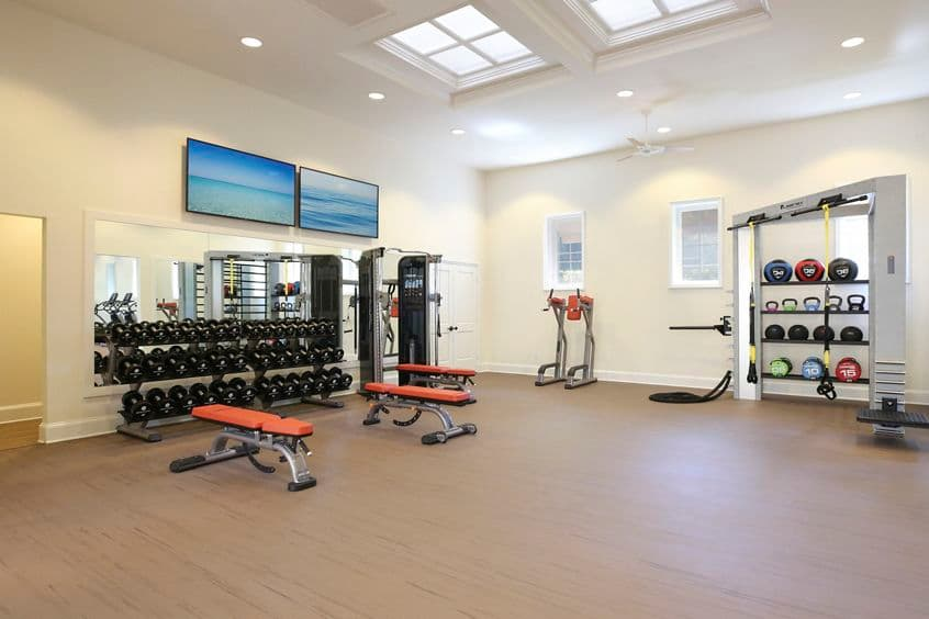 Interior view of fitness center at Newport Bluffs Apartment Homes in Newport Beach, CA.
