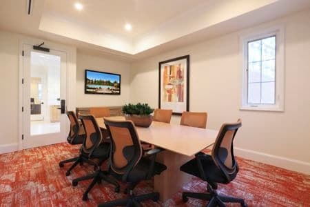 Interior view of business center at Newport Bluffs Apartment Homes in Newport Beach, CA.