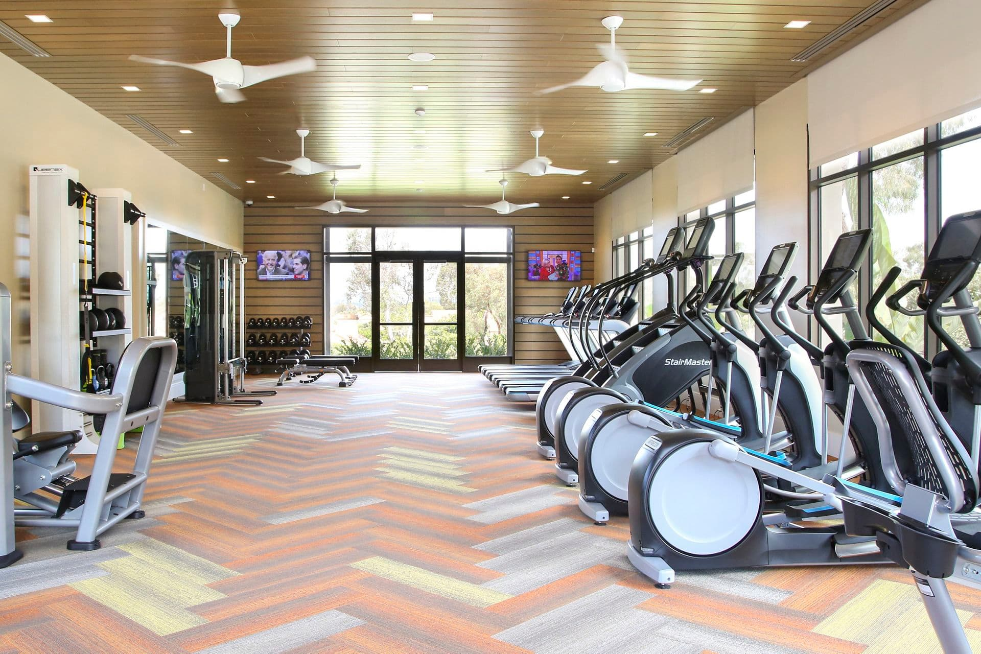 Interior view of fitness center at Newport North Apartment Homes in Newport Beach, CA.