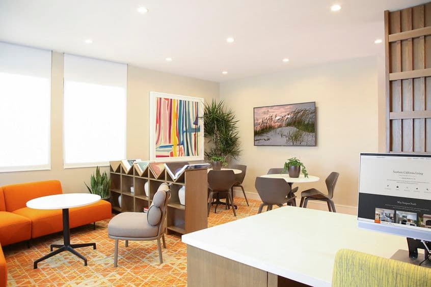 Interior view of leasing center at Newport North Apartment Homes in Newport Beach, CA.