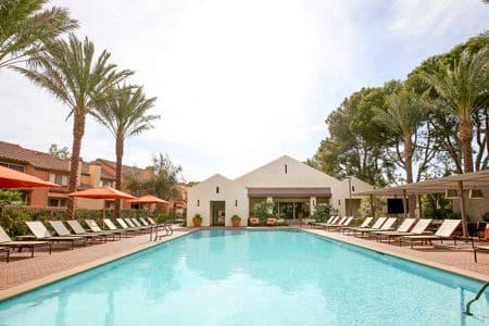 Pool view at Newport North Apartment Homes in Newport Beach, CA.