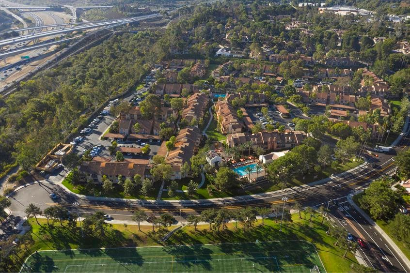 Aerial view of Newport North Apartment Homes in Newport Beach, CA.