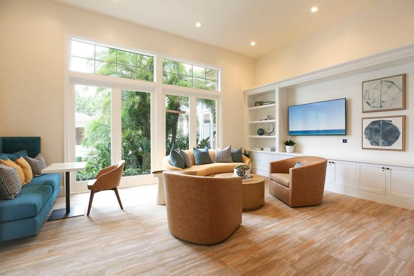 Interior view of clubhouse at Newport Ridge Apartment Homes in Newport Beach, CA.