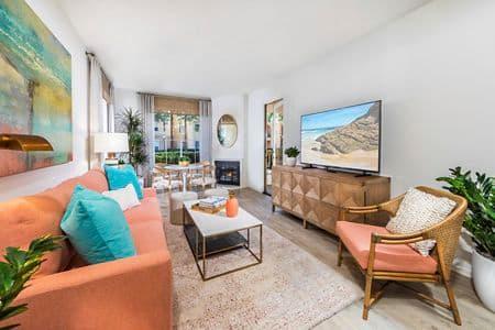 Interior view of living room at Newport Ridge Apartment Homes in Newport Beach, CA.