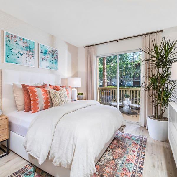 Interior view of bedroom at Newport Ridge Apartment Homes in Newport Beach, CA.