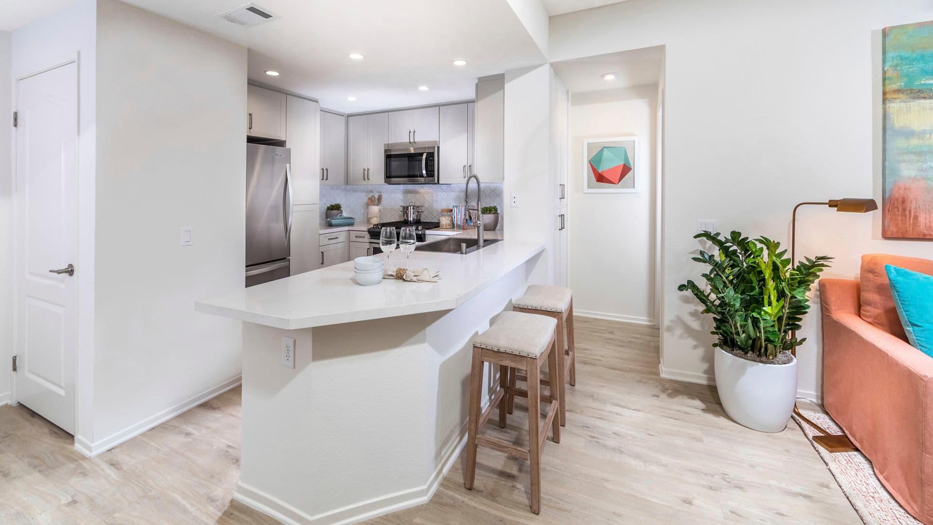Interior view of kitchen at Newport Ridge Apartment Homes in Newport Beach, CA.