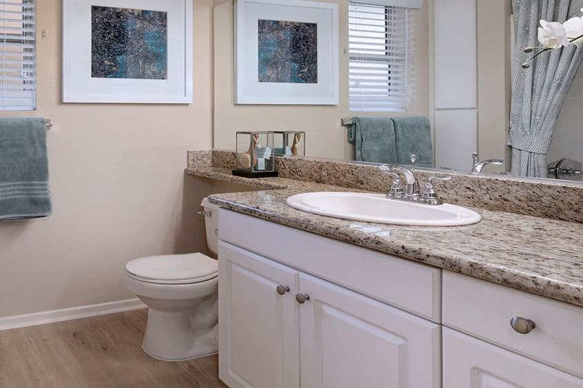 Interior view of a bathroom at Newport Ridge Apartment Homes in Newport Beach, CA.