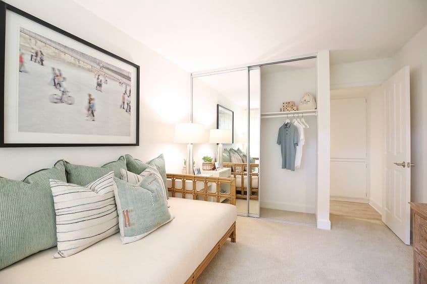 Interior view of bedroom at Promontory Point Apartment Communities in Newport Beach, CA.