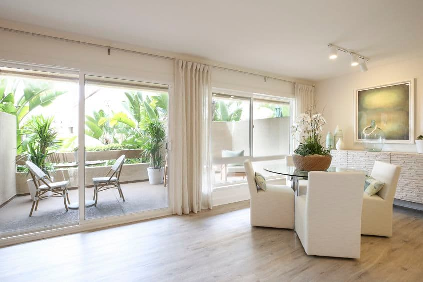 Interior view of dining room at Promontory Point Apartment Communities in Newport Beach, CA.