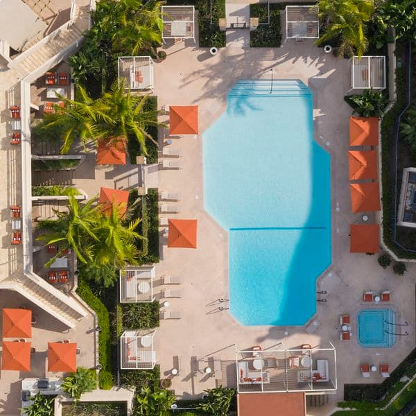 Exterior drone shot of Promontory Point Apartment Communities in Newport Beach, CA.