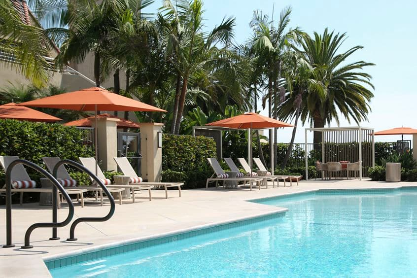 Pool view at Promontory Point Apartment Communities in Newport Beach, CA.