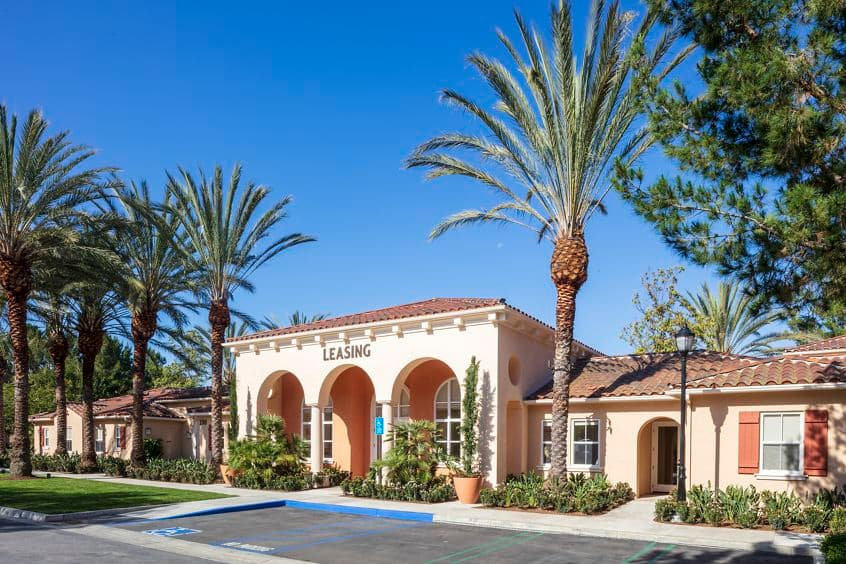 Exterior view of Leasing Center at Turtle Ridge Apartment Homes in Newport Beach, CA.