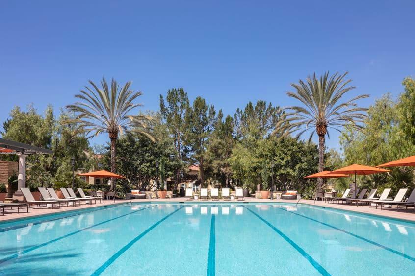 Pool view at Turtle Ridge Apartment Homes in Newport Beach, CA.