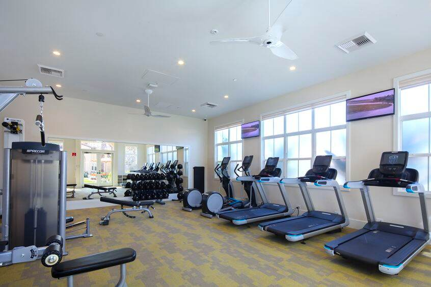 Interior view of fitness center at Turtle Ridge Apartment Homes in Newport Beach, CA.