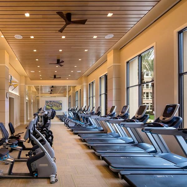 Interior view of fitness center at Villas Fashion Island Apartment Homes in Newport Beach CA.