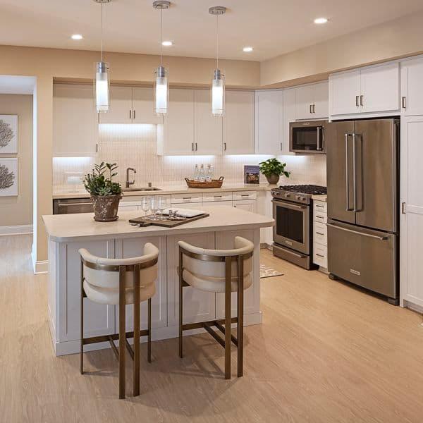 interior view of kitchen at Villas Fashion Island Apartment Homes in Newport Beach, CA.